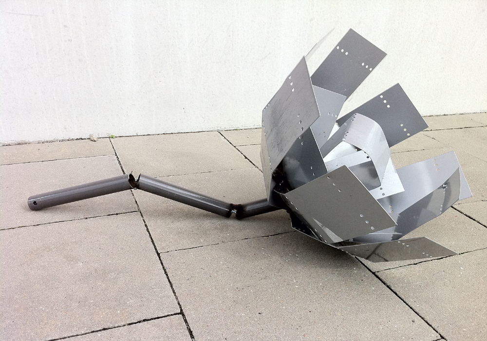 The Joy of welding, 2011, reused metal waste (computer cases), Strandskolan, Malmö